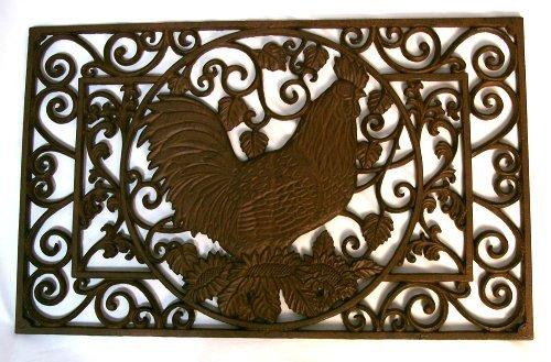 Cast Iron Rooster Floor Mat/Grate Door Mud Rug - 0014