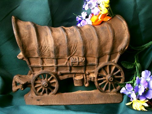 Cast Iron Old West Covered Wagon DoorStop Figurine - 14417