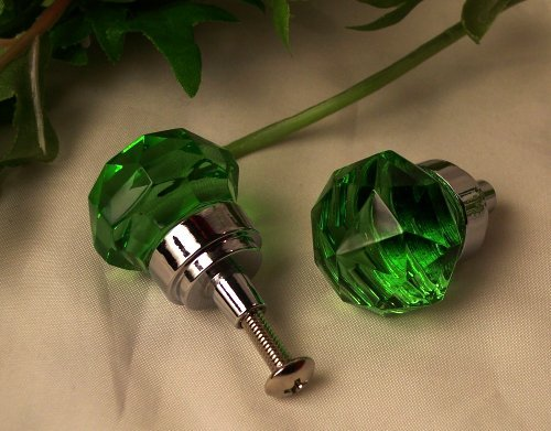 Small Green Crystal Cabinet Door/Drawer Pull Knob - HO35g