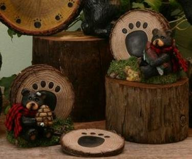 Set/2 Bear Rustic Coaster Holder for Hunting Lodge or Cabin - 13026