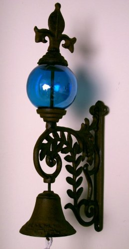 Cast Iron Bell Blue Glass Gazing Ball French Country Style - 080921