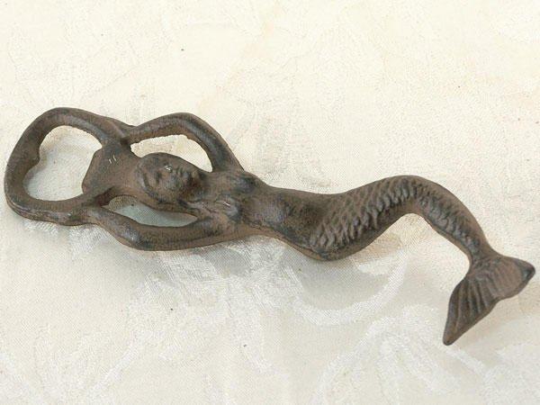 Lot of 2 Mermaid Figurine Bottle Opener Antique Style - 07469