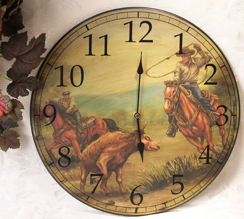 Western Cowboy Roundup Wall Clock Vintage Style -080810