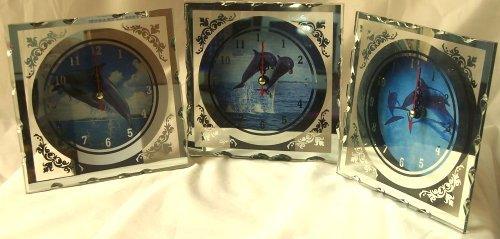 Dolphins Clocks Lot of 3 Different Mirrored Scenes -080810