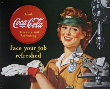 TIN SIGN COKE Female Machinist Vintage WW2 Style - 1303