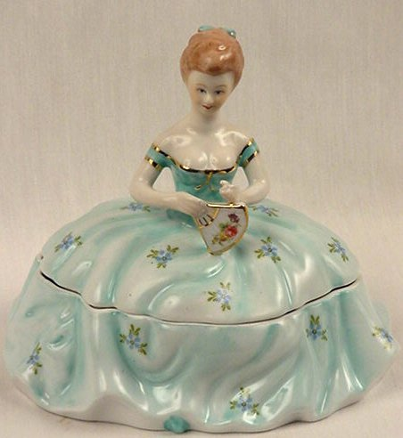 Powder Box Girl Light Blue Limoges China Reproduction - 15840