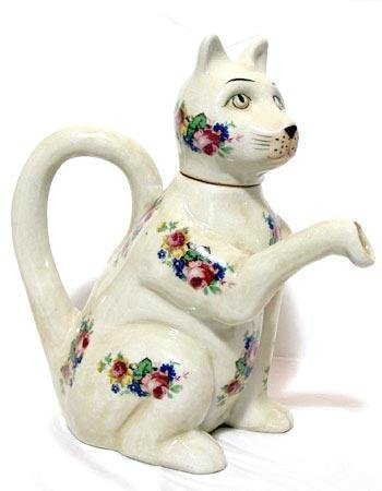 Cat Teapot with Roses - 15844