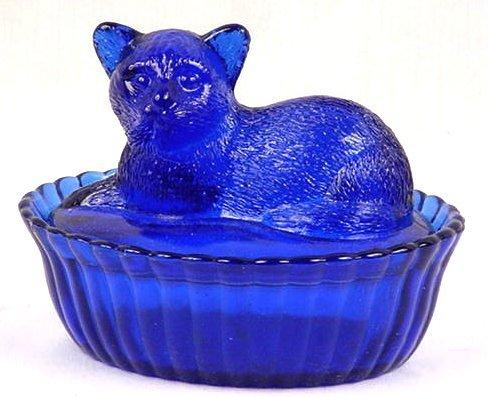 Cobalt Blue Glass Cat Topped Dish - 16294