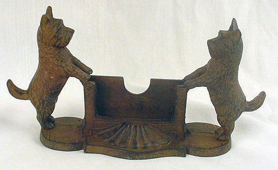 Scottie Dog Business/Calling Card Holder Cast Iron - 07638
