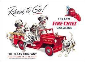 TIN SIGN Texaco - Rarin' to Go Fire House Dalmations - 594