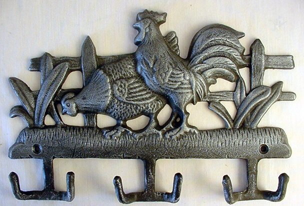 Cast Iron Wall Hook - Chicken & Rooster Country Farm - 01517