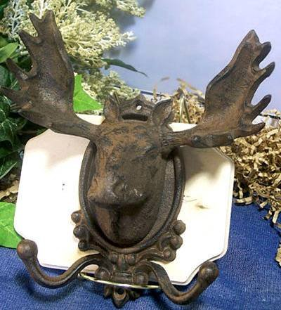 Cast Iron Moose Head Wall Hook Rustic Cabin - 01647