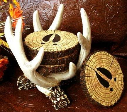 "SET of 4 ""Old West"" Deer Antler Coasters & Holder -080807"