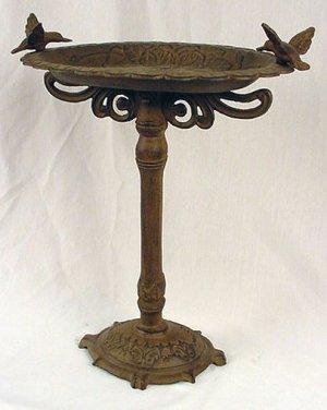 Copper Color Iron Birdbath w/HummingBirds Vintage Style - 13476