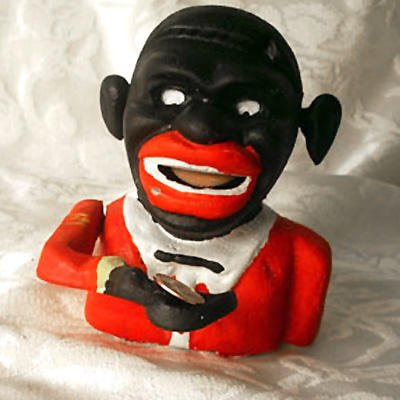 Cast Iron Jolly Black Man Mechanical Bank -081202