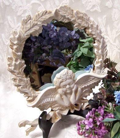 Angel Figure Framed Round Mirror Cast Iron - 10073