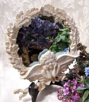Angel Figure Framed Round Mirror Cast Iron - 10073
