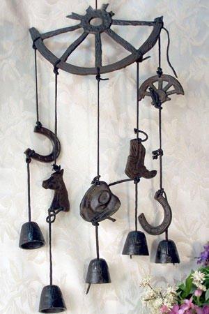 Broken Wheel W/ Bells Windchime Cast Iron - 02085