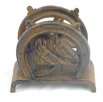 Horse & Shoe Napkin or Letter Holder Western Horseshoe - 08644