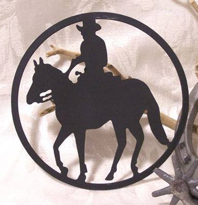Metal Cut-Out Cowboy On Horse Plaque  - 12102