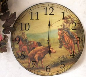 Western Cowboy Roundup Wall Clock Vintage Style -080811