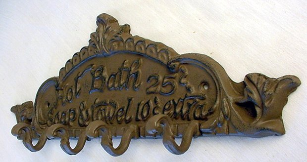 Cast Iron Wall Hook Plaque - Hot Bath 25 Cents - 01615