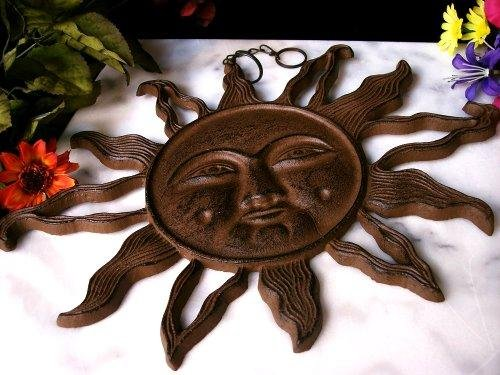 Large Cast Iron Hanging Sun Face Outdoor/Indoor - 080921
