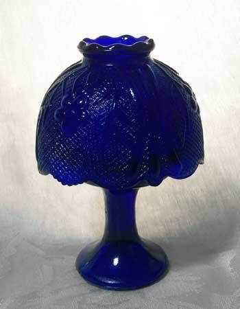 Candleholder Lamp Blue Glass w/Shade - 16291