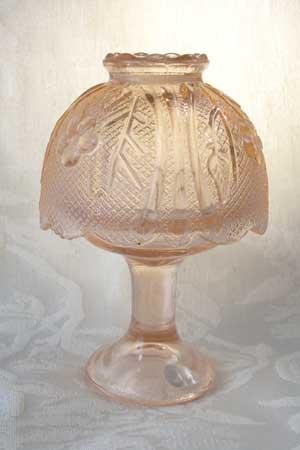Pink Glass Candle Holder Lamp Candleholder w/Shade - 16290