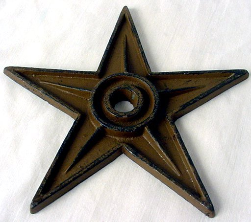 6 1/2 inch Cast Iron Star - Center Hole LARGE Set of 6 - 02106