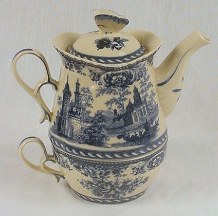 Tea for One Set Pot & Cup Blue and White Floral - 58036