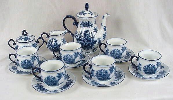 """17 Piece Tea Set Elegant Blue and White """"Iron Stone"""" - 15523"""