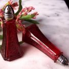 Red Glass Floral Salt & Pepper Shakers - 16152