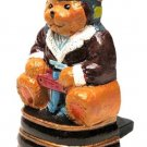 Pilot Bear Mini Doorstop Painted Cast Iron - 13170P - 7