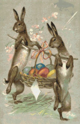 Rabbits Dancing Easter Counted Cross Stitch Pattern NCCS 1165
