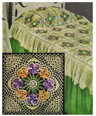 Pansy Bedspread Crochet Motif Pattern  C  1949