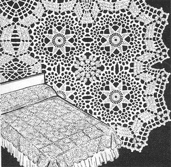 Star Bedspread Crochet Pattern from 1950 C 1016
