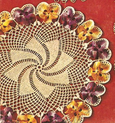 Pansy and Rose Garland Doilies Crochet Pattern C 1051