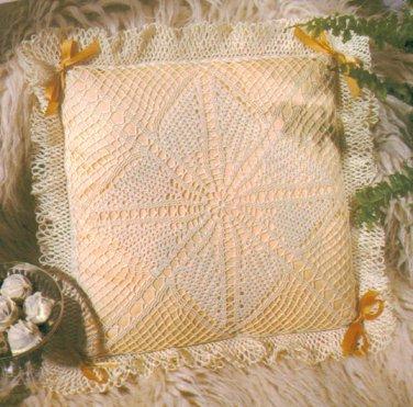 Flower Lace Pillow and Lingerie Bag Crochet Pattern C 1204