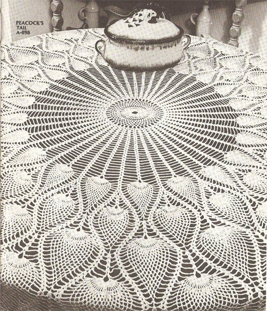 Peacock S Tail Pineapple Tablecloth Crochet Pattern C 1038
