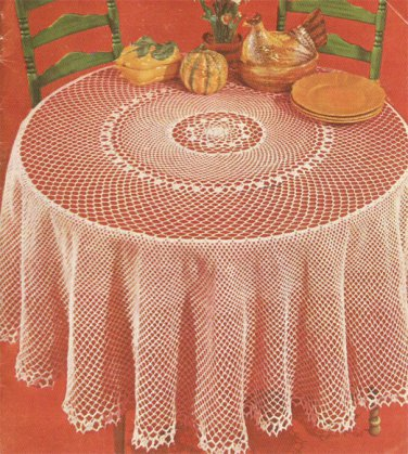 Round Filet Tablecloth Crochet Pattern C 1044