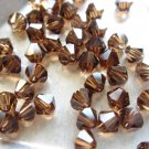 72X 4mm Swarovski 5328 Xilion Crystal Beads Smoked Topaz