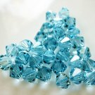 24X 5mm Swarovski 5328 Xilion Crystal Beads Aquamarine