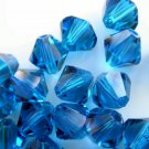 24X 6mm Swarovski 5328 Xilion Crystal Beads Capri Blue