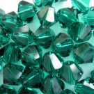 24X 6mm Swarovski 5328 Xilion Crystal Beads Emerald