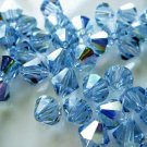 24X 6mm Swarovski 5328 Xilion Crystal Beads Light Sapphire AB