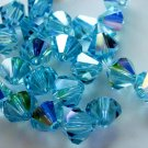 12X 8mm Swarovski 5328 Xilion Crystal Beads Aquamarine AB