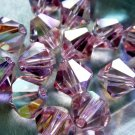 12X 8mm Swarovski 5328 Xilion Crystal Beads Light Rose AB