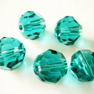 6X 8mm Swarovski 5000 Round Crystal Beads Blue Zircon