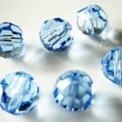 6X 8mm Swarovski 5000 Round Crystal Beads Light Sapphire